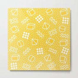 Abstract Memphis Style Pattern Yellow Metal Print