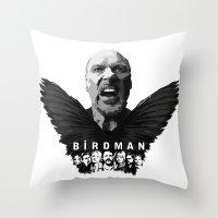 birdman Throw Pillows featuring Birdman by naidl
