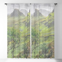 Lonely Tree In Beautiful Subtropical Mountainside Ultra HD Sheer Curtain