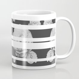 White Stipe Roses Coffee Mug