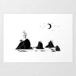 Three Graces Black on white Art Print