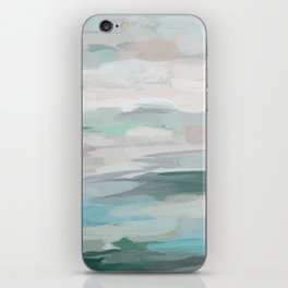 Sage Green Sky Blue Blush Pink Abstract Nature Sky Wall Art, Water Land Painting Print iPhone Skin