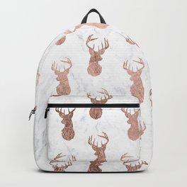 Modern faux rose gold deer pattern white marble Backpack