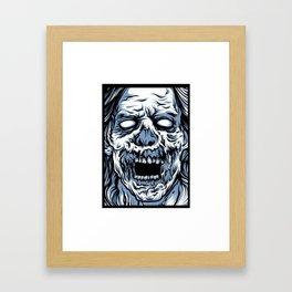 Blue Boxed Zombie Framed Art Print