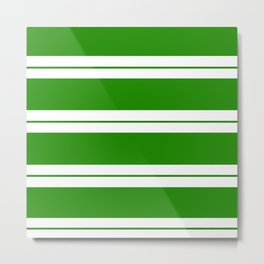 Strips - green and white. Metal Print