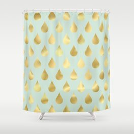 Golden Yellow Raindrops on Sage Green Background Shower Curtain