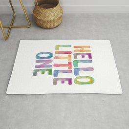 Hello Little One - watercolor rainbow typography Rug