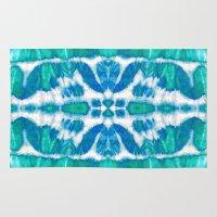 tie dye Area & Throw Rugs featuring Tie-Dye Twos Aqua by Nina May Designs