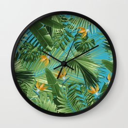 Bird of Paradise Jungle Leaves Dream #1 #tropical #decor #art #society6 Wall Clock