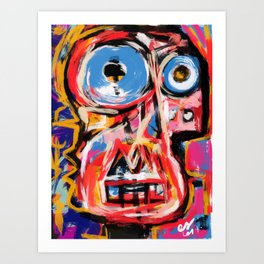 Art brut outsider underground graffiti portrait Art Print