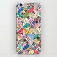 quilt iPhone & iPod Skins featuring Betty's Diamond Quilt by Rachel Caldwell