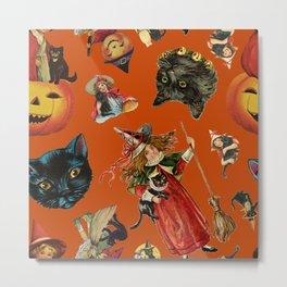 Vintage Black Cat Halloween Toss in Pumpkin Spice Metal Print