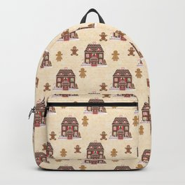 Gingerbread House Beige Floral Background Backpack