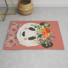 Cut Panda Bear with flower crown. Cute decor for kids Rug