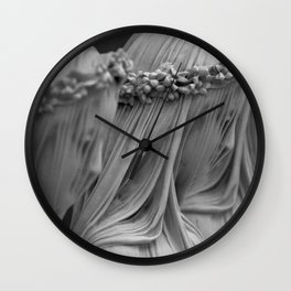 The Veiled Vestal Virgins marble sculpture by Raffaelo Mont black and white photograph Wall Clock