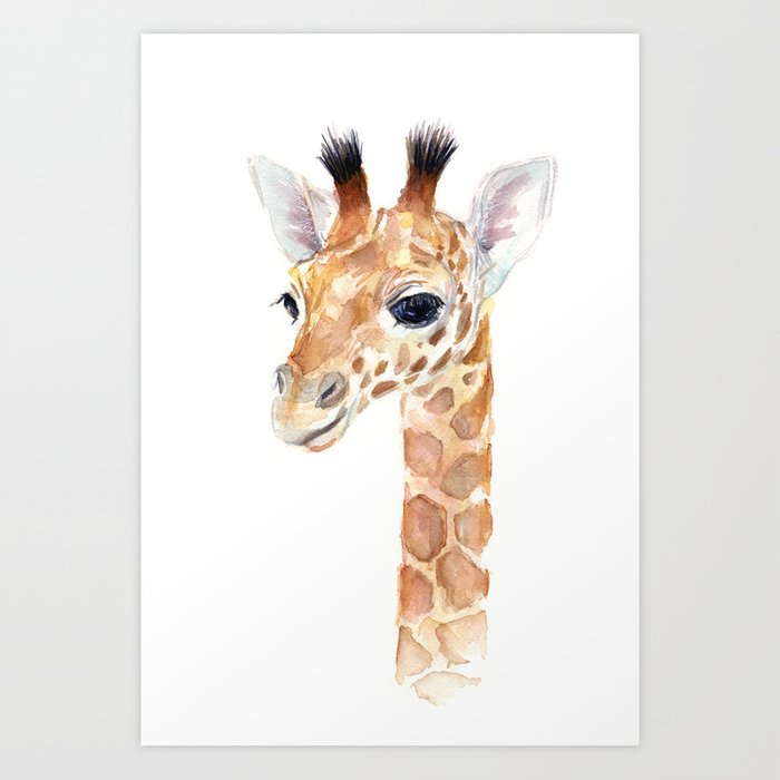 Baby Giraffe Cute Animal Watercolor Art Print