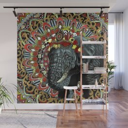 Elephant Red and Gold Indian Yoga Mandala Wall Mural