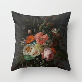 Rachel Ruysch - Still life with flowers on a marble tabletop (1716) Throw Pillow