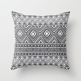 African Mud Cloth // Charcoal Throw Pillow