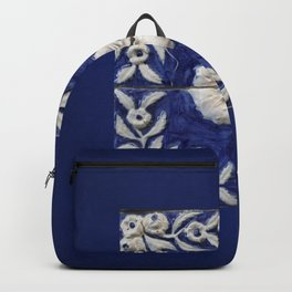 antique blue tile Backpack