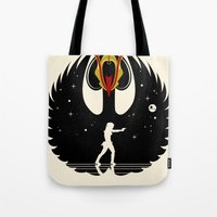 swan queen Tote Bags featuring Queen Swan by zerobriant