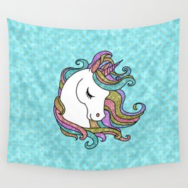 Turquoise Blue Faux Glitter Unicorn Rug Wall Tapestry