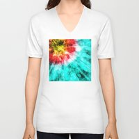 tie dye V-neck T-shirts featuring Colorful Tie Dye by Phil Perkins
