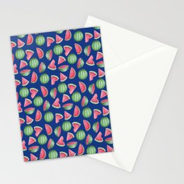 Watermelon Pattern, Blue Background Stationery Cards