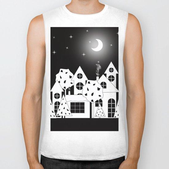 Fabulous houses, trees against the night sky. Biker Tank