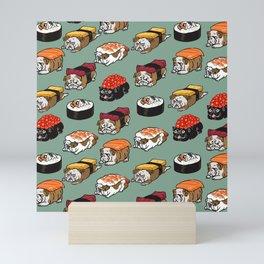 Sushi English Bulldog Mini Art Print