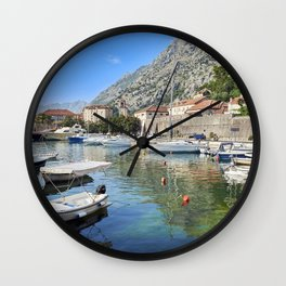 Picture Montenegro Kotor Bay Pier speedboat Houses Cities Berth Marinas Motorboat powerboat Building Wall Clock