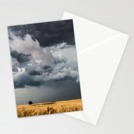 Cotton Candy - Storm Clouds Over Wheat Field in Kansas Stationery Cards