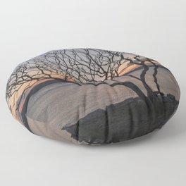 Sunset tree Niles Beach Floor Pillow