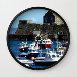 Boats in the Harbour Wall Clock