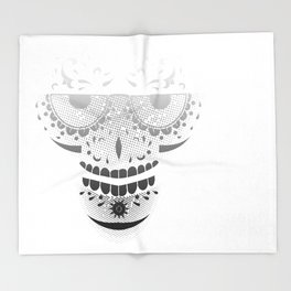 Sugar Skull - Day of the dead bw Throw Blanket