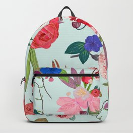 Beautiful roses, carnation and mix flowers vintage pattern blue Backpack