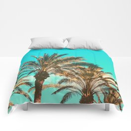 Tropical Palm Trees  - Vintage Turquoise Sky Comforters