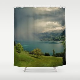 arising storm over lake lucerne Shower Curtain