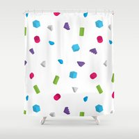 confetti Shower Curtains featuring Confetti by Eric Zelinski