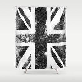 Black Grunge UK Flag Shower Curtain