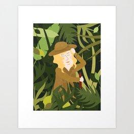Lady Explorer Art Print