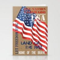 patriotic Stationery Cards featuring Patriotic Text by Debbie DeWitt
