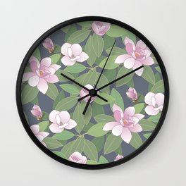 Magnolia and leaves Wall Clock