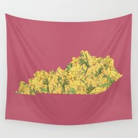 kentucky Wall Tapestries featuring Kentucky in Flowers by Ursula Rodgers