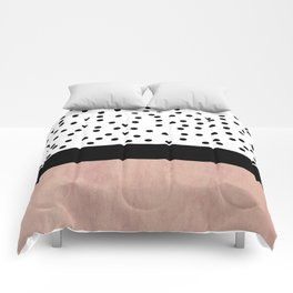 Pink marble and dots Comforters