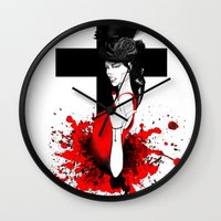 religion Wall Clocks featuring BAD RELIGION by Anna d'Ark