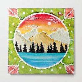 Mountains through Porthole Metal Print