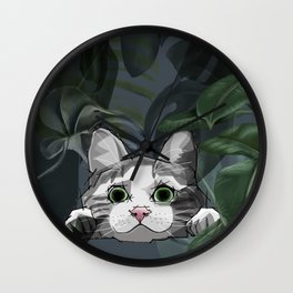Jungle cat at night Wall Clock