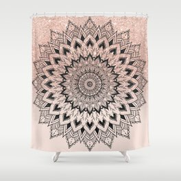 Boho black watercolor floral mandala rose gold glitter ombre pastel blush pink Shower Curtain