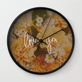 Love You x Orange Floral Wall Clock